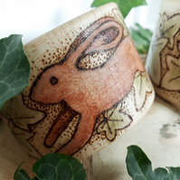 Pyrography hare and ivy bangle