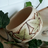 Pyrography ivy wooden bangle