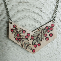 Pyrography rowan berries & leaves pendant
