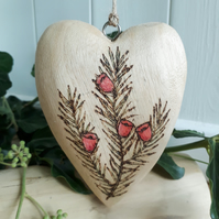 Pyrography wooden yew heart decoration