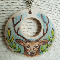 Pyrography red deer stag pendant