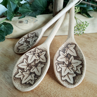 Three pyrography ivy leaf wooden spoons