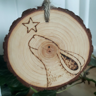 Reach for the stars... animal pyrography wood slice hanging decorations