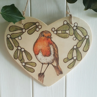 Robin & mistletoe pyrography wooden heart hanging decoration