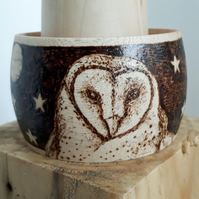 Pyrography barn owl at night wooden bangle