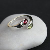 Garnet and Peridot silver ring.
