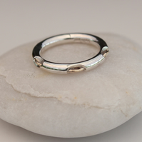 Sterling silver ring with gold thread
