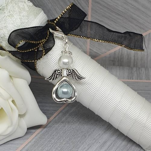 """Something Blue"" Angel Bouquet Charm"