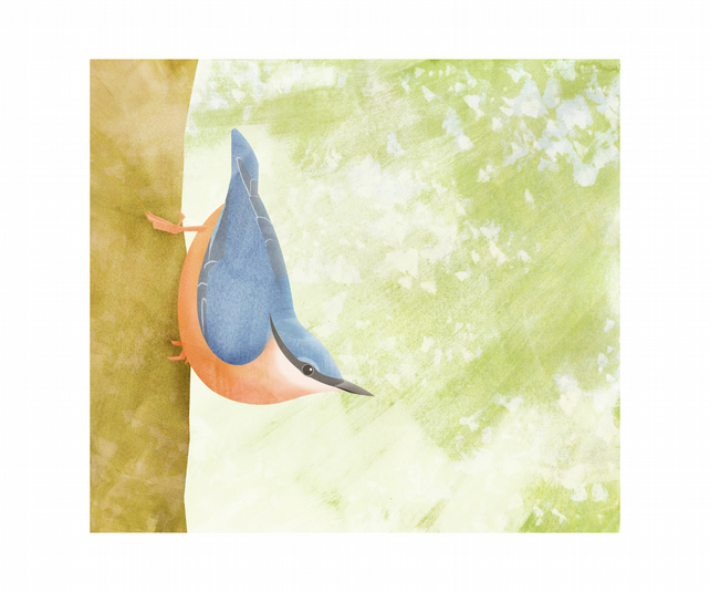 "Nuthatch (12"" x 10"" gouache and digital collage)"