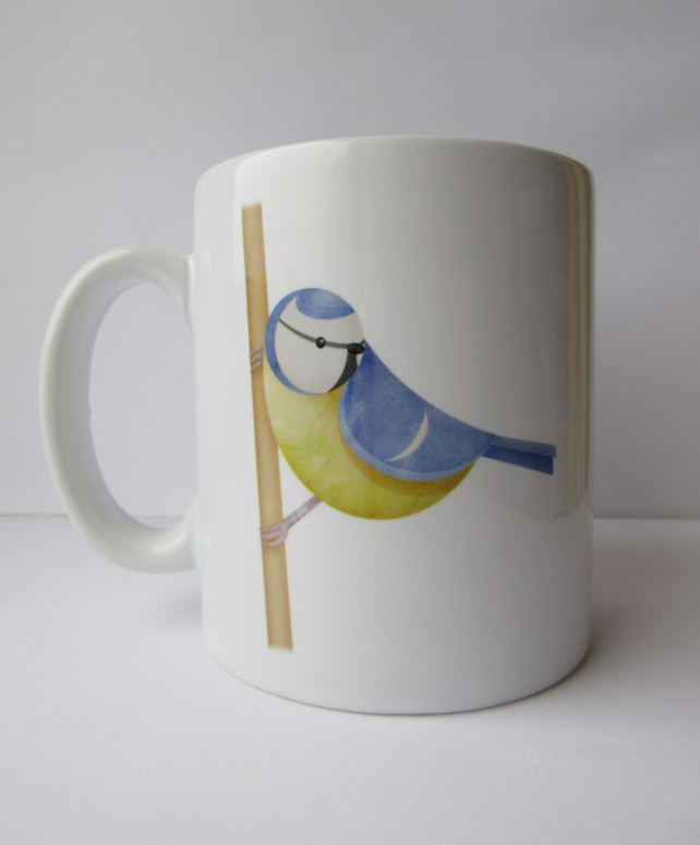 'Blue tit perched' mug