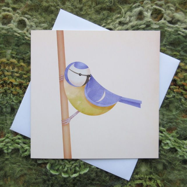 'Blue tit perched' greetings card