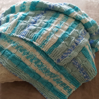 Hand Knitted Baby Blanket Knitted in Aran Weight Wool