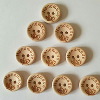 10 Handmade Inscribed Wooden Buttons Size 15mm