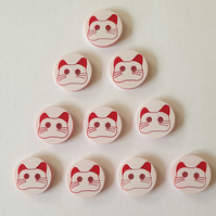 10 Red & White Cat Face Resin Buttons Size 13mm