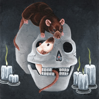 Halloween Card - Rats in a Skull, Pet Fancy Rat Greetings Card