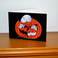 Halloween Card - Rats in a Pumpkin, Pet Fancy Rat Greetings Card
