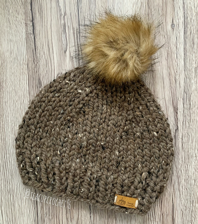 Womens Rustic Knitted Beanie