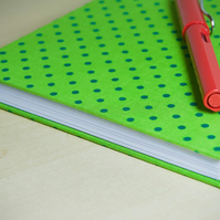 A5 Hardback Notebook with full cloth spotty cover