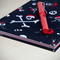 A5 Hardback Notebook with full cloth pirate skull and crossbones cover