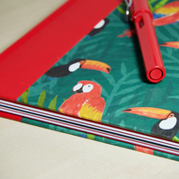 A5 Quarter-bound Hardback Notebook with decorative parrot cover