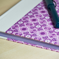 A5 Quarter-bound Hardback Notebook with decorative cover