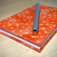 A6 Hardback Lined Notebook with full cloth orange star cover
