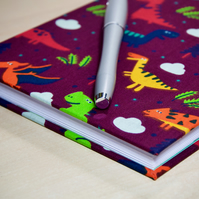 A5 Hardback Notebook with full cloth dinosaur cover