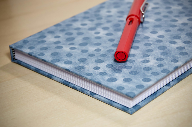 A5 Hardback Lined Notebook with full cloth grey spotty cover