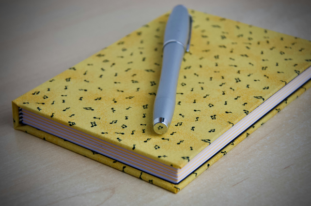A6 Hardback Notebook with full cloth musical cover