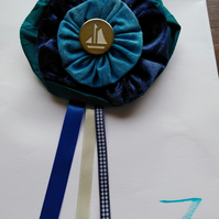 Rosette brooch - multicoloured with ribbons (no. 7)