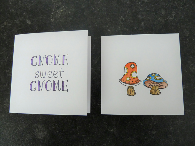 gnome and toadstool mini cards