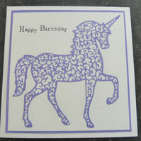 Sale purple unicorn happy birthday card