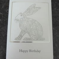 silver hare birthday card
