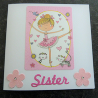 sister ballerina birthday card