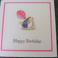 pink hedgehog birthday card