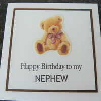 happy birthday teddy bear nephew card