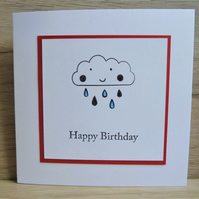 happy birthday card, rain cloud