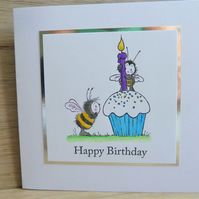 happy birthday card, bee with blue cupcake