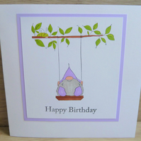 purple gnome on swing, happy birthday card