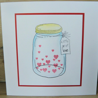 little jar of love handmade card