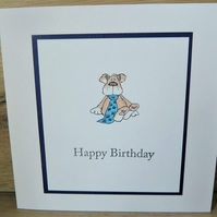 dog in tie happy birthday card