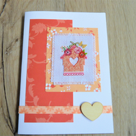 cross stitch bird house card