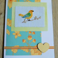 bird cross stitch card