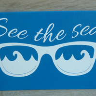see the sea postcard canvas