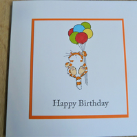 cat with balloons, happy birthday card