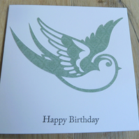 swallow happy birthday card