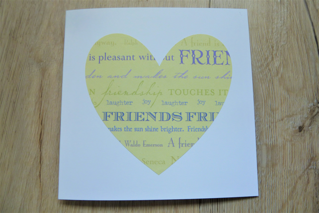 green heart paper cut friend card