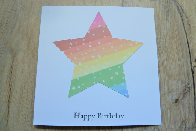 happy birthday card, rainbow star