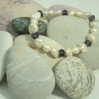 stretch stack bracelet with vintage beads - perfect for bride