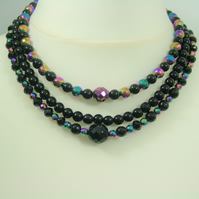 Gorgeous 3-strand necklace with black onyx, hematite and silver